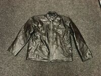 Men's Genuine Leather Jacket Straight Zipper Style Light Weight XL Size New