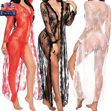 Sexy-Lingerie Women Lace Sheer Long Dress Lady See-Through Kimono Robe Gown US