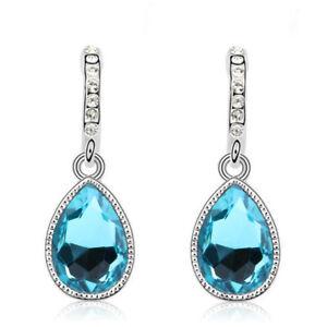 Lake Oval Drop Hoop Dangle Hook Earrings 925 Sterling Silver Women Jewellery MMI
