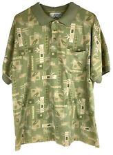 Michael Austin Golf Polo Shirt Club Sage Greens Men Size L Tropical Cotton Blend
