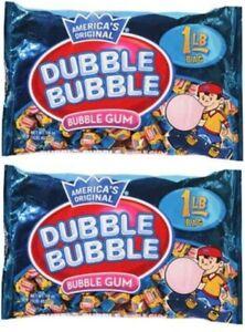 2 - Dubble Bubble Bubblegum Twist wrapped gum 1lb 453g Concord bubble Tootsie