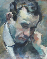 """perfect 24x36 oil painting handpainted on canvas""""a man""""@N5771"""