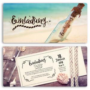 Einladungen zum Geburtstag Flaschenpost Flasche Brief Post Karte Einladung