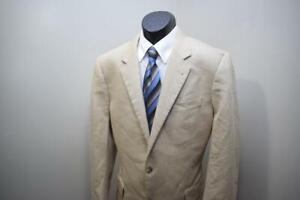 Jos A Bank Blazer Silk Camelhair Beige 2 Button Sports Jacket Mens Size 42 L