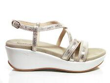 Nero Giardini P805700D sandali donna zeppa media plateau pelle platino (-22%)