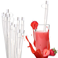 "(10 PK) 11"" Reusable Drinking Straws Plastic W/Cap For Big Mugs Water Bottle"