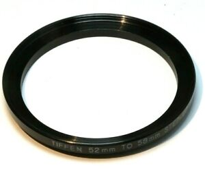Tiffen 52mm to 58mm Step-up ring Metal adapter threaded for lens filter USA