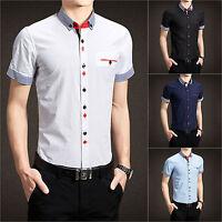 Men's Short Sleeve Shirt Office Dress Work Formal Button Casual Summer Plain New