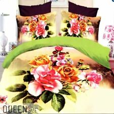 Celebrity Collection Queen Size 3D Bedding Set of 3 - Yellow Floral Design