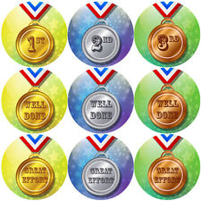 144 Sports Day Medals Stickers - School teacher reward stickers - Size 30mm