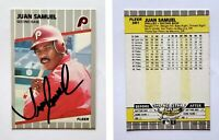 Juan Samuel Signed 1989 Fleer #581 Card Philadelphia Phillies Auto Autograph