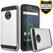For Motorola Moto E4 Black Silver Full Body Protect With Screen Protect NEW