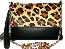 LA DIVA Black Leopard Handbag Zip Clutch Purse Wristlet NWT