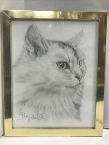 "White Cat Original Art Sketch Drawing Framed Signed Green Eyes 14x11"""