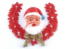 Vintage 70s Hong Kong Celluloid Christmas Santa Red Wreath Decor L359
