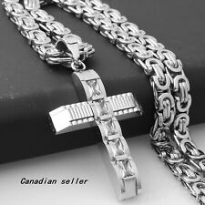 Trend Necklace Silver Cross Pendant Stainless Steel Byzantine Chain jewelry gift