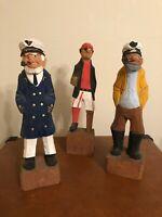 3 Nautical Wood Figures HAND CARVED Sailor Sea Captain New England Scandinavia