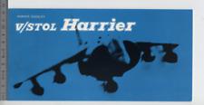 (192) Brochure Aircraft Hawker Siddeley V/Stol Harrier