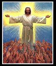 """VINTAGE 1953 """"HELP US OH LORD"""" LIFTED HANDS TO JESUS CALENDAR ART PRINT"""