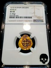 "SPAIN 1610 ""FULLY DATED"" NGC 45 GOLD ESCUDO TREASURE DOUBLOON COB COIN – RARE!"
