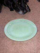 Vintage Fire King Jadeite 12 x 9 Oval Platter Jane Ray Ribbed