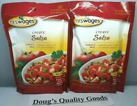 MRS. WAGES Medium Create SALSA MIX Tomato, Freeze, Can, All Natural 4oz 2 Pack