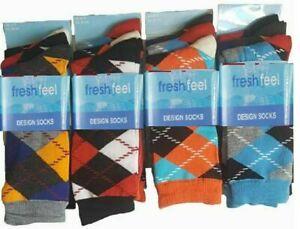 12/6/3Pairs Men's Bright Argyle Diamond Cotton Rich Lycra Design Socks Size  LOT
