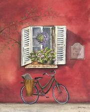 French Bicycle III by Katharine Gracey Window Flowers Canvas Giclee Print 22x28