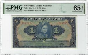 NICARAGUA 1 Cordoba 1941, P-90a, Banco Nacional, PMG 65 EPQ Gem UNC, Colorful