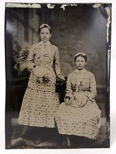 3 Antique 1/6 Tintypes TWIN SISTERS - CUTE BOY WITH HAT - CUTE GIRLS & UMBRELLA