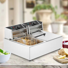 2500with 5000w Electric Deep Fryer Dual Tank Stainless Steel Commercial Restaurant