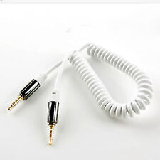 30cm 12inch White Premium Jack Plug 3.5 mm Spring Cable Car Male to Male Audio
