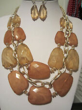 Three Layers Brown Faceted Lucite Bead Gold Tone LinkNecklace Earring Set