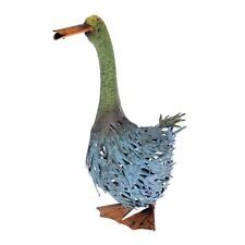 Homescapes Sitting Blue and Green Goose Garden Ornament Distressed Painted Metal