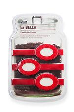 La BELLA elastische Etiketten-Bänder für Vorratsgefäße, rot, 3 Stück