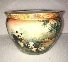 "14"" Oriental Panda Bear Family In Bamboo Patch Fish Bowl Jardiniere Planter Pot"