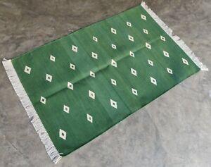 Cotton Rug 2.5'x4' Handwoven Green Diamond Rug Rag Reversible Dhurrie Yoga Rug