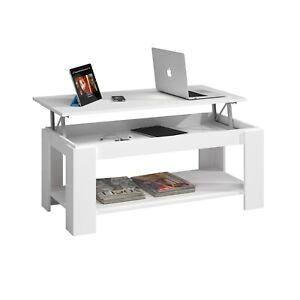 Mesa de centro elevable con revistero para comedor, color Blanco Artik, Ambit