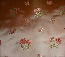 Vintage French Roses Floral Brocade Jacquard Satin Silk ? Fabric ~ Pink Apricot