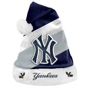 New York Yankees Team Big Logo Holiday Plush Santa Hat NEW! Christmas SH19
