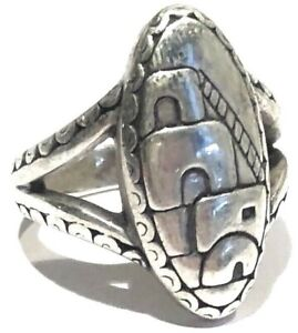 SIGNED  ARTISAN STERLING SILVER REPOUSSÉ ADOBE SOUTHWESTERN RING NATIVE TRIBAL