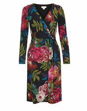 MONSOON FLATTERING FLORAL JERSEY WRAP DRESS - SIZE 10