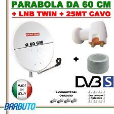 ANTENNA SATELLITARE PARABOLA 60 CM EMMESSE + LNB TWIN 2 USCITE + 25 MT DI CAVO