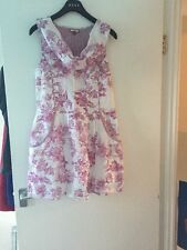 Joe Browns Floral Print Short Summer Dress - White/Pink Size 8