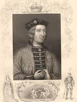 C1860 Vittoriano Stampa ~ Edward IV ~ Lady Elizabeth Grigio Con Lei Bambini
