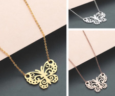 Butterfly Necklace Silver/Gold/RoseGold Animal Pendant 100% Stainless Steal