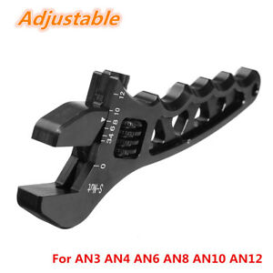 Black AN Adjustable Aluminum Wrench Fitting Tools For AN3 AN4 AN6 AN8 AN10 AN12