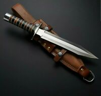 """AWESOME-15"""" HIGH CARBON STEEL HUNTING WILD DAGGER WITH LEATHER SHEATH"""