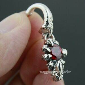 LINSION 925 Sterling Silver Dragon Claw Red CZ Stone  Stud Earrings 8R006A