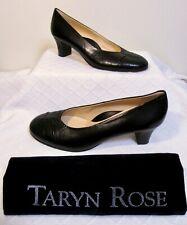 "TARYN ROSE Black Leather Round Toe Classic 2"" High Heel Pumps 8"
